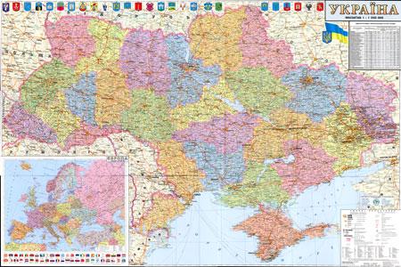 Подробная административная карта Украины