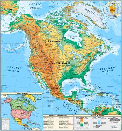 Северная Америка (Физическая карта)